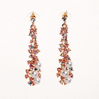 Gold Crystal AB and Pearl Earrings For Women 2014 Fashion Jewelry Free Shipping