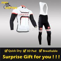 2014 White CASTELLI winter Fleece Thermal Long Sleeve and Bib Pants Cycling Jerseys /Wear/Clothing/Bicycle/Bike/Riding/Gel Pad