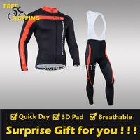 2014 CASTELLI 3&T winter Fleece Thermal Long Sleeve and Bib Pants Cycling Jerseys /Wear/Clothing/Bicycle/Bike/Riding jersey/Gel