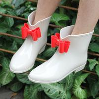 2014 New Fashion Ankle Heels Women's galoshes Cute Short Bow Bowknot Women Rain Boots Rubber Flat Winter Autumn Rainboots