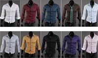 2014 Hot Sale Men/Male Casual Fashion Slim Stylish Shirts/Clothing 10 Color Size M-L-XL-XXL Free Shipping
