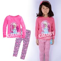 Drop shipping Wholesale 6 sets/lot 100%cotton girls long sleeve pajamas 3D Frozen Autumn Winter sleepwear X-478