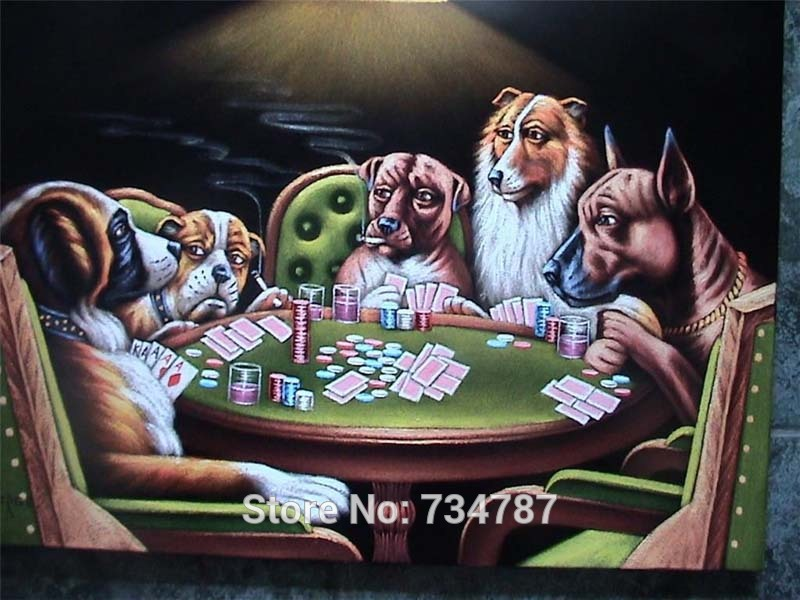 Hand Painted Oil Wall Pictures Canvas Painting Dogs Playing Poker Museum Quality Modern Art Animals Living Room Decoration(China (Mainland))