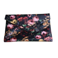 2014 spring oil painting flower women's rivet handbag rose day clutch envelope messenger bag fashion FREE SHIPPING high quality