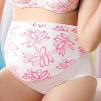 Pregnant ladies underwear cotton printed prop belly waist underwear plus size maternity high waist underwear