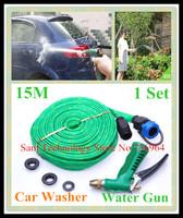 Free shipping 1 Set 15M Pipe Car wash water gun copper portable high pressure Vehicle washing gun rinse Cleaning Spray Hose tap