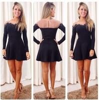 2014 new summer American women new autumn big black elegant dress embroidered lace stitching dress one_plus perfume 212 jaqueta