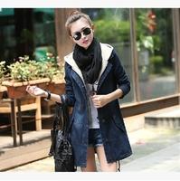 2014  new winter women's fashion  hooded denim  Coats good quality