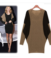 2014 Autumn New Fashion Slim Patchwork Batwing Sleeve Above-Knee Women Dress