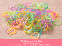 Wholesale - DIY Loom bands glow in the dark  Rubber Bands 300 bands + 12 Clips +1 hook loom rubber bands