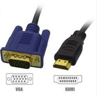 100pcs/lot High Quality 1.0M HDMI Male to SVGA VGA M Converter A/V Cable Lead GOLD PLATED Free Shipping