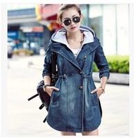 2014  new winter with large size women long Slim Denim coats