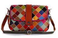 2014 New Genuine leather bags for women messenger bags vintage bag women handbags genuine leather Colorful Plaid Handbag M116