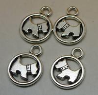 50pcs/lot Antique Silver Dog Puppy pendant Alloy Jewelry Accessories Beads Pendants 15x20mm Wholesale