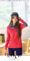 2014 Cowboys Fleece Sweatshirt autumn lapel mosaic fake two-piece sweater fashion women blouses casual hoody 1335#