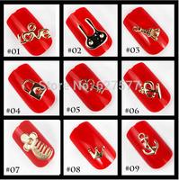 40pcs Nail Art Tips 3D Deco Gold Metal Alloy Cute Rabbit Lock Key Eiffel Tower Love Comb Anchor More Seletion
