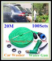 FedEX Free shipping 100 Sets 20M Pipe Car wash water gun copper portable high pressure Vehicle washing gun rinse Spray Hose Tap
