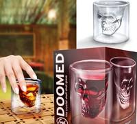 4pcs (2.5 ounces) Hot U.S. imprison pirates Double Doomed Crystal Skull Shot Glass/ Skull Head Vodka Shot Wine Glass Novelty Cup