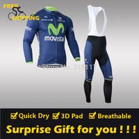 2014 Blue Movistar winter Fleece Thermal Long Sleeve and Bib Pants Cycling Jersey /Wear/Clothing/Bicycle/Bike/Riding jersey/Gel