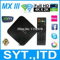 2014 Newest MXIII Android 4.4 TV Box Amlogic S802 Quad Core Smart TV Mini PC MX iii 8 Core Mali450 GPU 2GB 8GB WiFi 4K HDMI XBMC