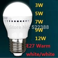 LED E27 3W 5W 7W 9W 12W LED Bulbs 220V 230V 240V LED Lamp Cold White LED Light Warm White Lampada LED Lights Free Shipping