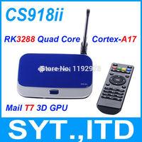 In Stock Newest RK3288 Quad Core TV Box CS918ii Android 4.4 Smart TV Box CS918 ii 2G/8G Mali-T7 3D GPU BT4.0 2.4G/5GHz WiFi XBMC