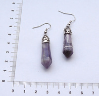 YA0972 Natural Amethyst Healing Point Earring
