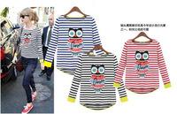 2014 Autumn New Fashion O-Neck Cotton loose Stripe T-shirt Free Shipping