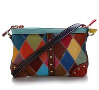 Genuine Leather bag 2014 Fashion Plaid Patchwork Women messenger bags Day Clutch Small Handbag Lady Shoulder Bag casual bag M103