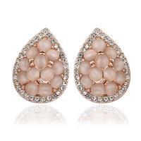 Top Quality18k gold gold plated austrian crystal rhinestone Opal stone stud earrings fashion jewelry 18KRGPE894