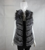 229$ !!! Cheap 100% Real Silver Fox Fur Vest With Hood Women Natural Fur Coats 2014 New Spring Waistcoat Outerwear Big Size 4XL