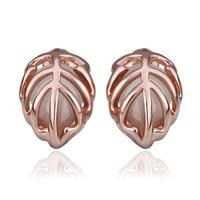 Top Quality18k gold gold plated austrian crystal rhinestone Opal stone leaf stud earrings fashion jewelry 18KRGPE891