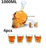 4 pcs/Pack Crystal Skull Head Vodka Whiskey Shot Glass+1 pc Crystal Head Skull Bottle 1000ml,Free Shipping