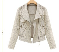 spring summer lace jacket with zipper decoration women long sleeve short jaqueta in beige and black color. Free Shipping