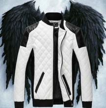 2014 fashion WFN Retro Men Warm moto biker Punk Slim Quilted PU Leather jacket outwear M-6XL Free shipping(China (Mainland))