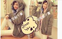 Hitz Women Korean winter winter Teddy Bear plush rabbit ears winter coat sweater influx of students