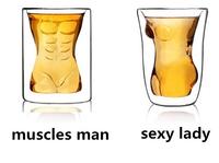 2 pcs/set Crystal Double-Wall Naked Lady Shot Glass+ Creative Muscles Man Shot Glass,Free Shipping