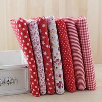 Red plain  7 Assorted Pre-Cut Charm Cotton Quilt Fabric Fat Quarter Tissue Bundle, Best Match Floral Stripe Dot  50x50cm