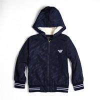 2014   New  Retail  Brand  fashion  autumn/winter  children's  coat  long  sleeve  hooded  plus  velvet   boy's  coat