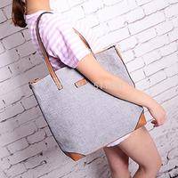 Fabric Limited Medium(30-50cm) Interior Zipper Pocket Zipper 2014 New Autumn Shoulder Bag Big Shopping Bags Grey Woman Handbag