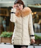 Ms. Down coat 2014 new winter jacket women Long paragraph Korean version of Slim fur hood solid color thick down jacket