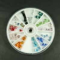 1 Set 8CM Wheel Mix 12 Colors Square Cube Beads 4mm Glass Crystal Rhinestones 3D Nail Art Tips Manicure Salon Craft Decorations