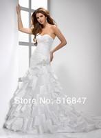 2014 New Elegant Long White/ivory Taffeta Mermaid/Trumpet Beading Strapless Bridal Gown Wedding Dresses