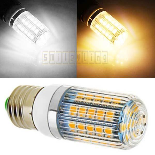 New 4pcs/lot E27 E26 650-LM 6W 47 SMD 5050 LED Lights Energy Saving High Power Corn Bulb with Stripe Cover 220V free shipping(China (Mainland))