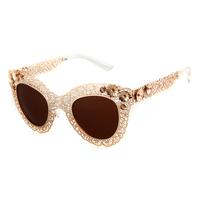 Baroque 2014 New Fashion Sunglasses Women Brand Designer Luxury Vintage Gold Glasses With Flowers Gafas Oculos De Sol Feminino