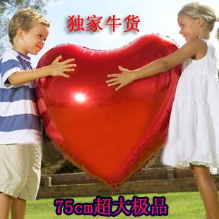 75cm large heart-shaped aluminum balloons Valentine heart shaped balloon wedding celebration balloons 5 installed(China (Mainland))
