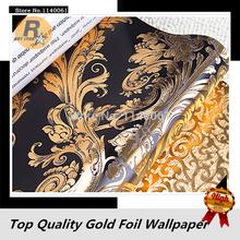 luxuoso damasco padrão preto e dourado rolo de papel de parede para sala e quarto wallpaper folha de ouro(China (Mainland))