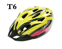 Cycling Bicycle Adult Bike Safe Helmet Carbon Hat With Visor 19 Holes red and yellow  color