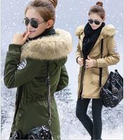 New Women Winter Coats 2014 Women's Causal Thick Fur Collar Hooded Long Parka Coat  Winter Jacket Women Cotton Coat AS1510
