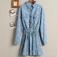 2014  new Korean-style denim waist dress  cross printed good quality